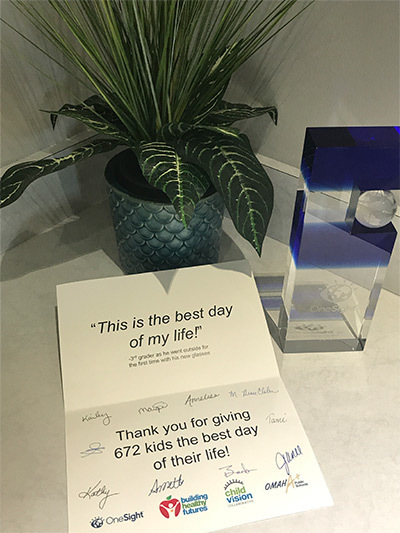 Thank You Card, OneSight and Building Healthy Futures (inside)